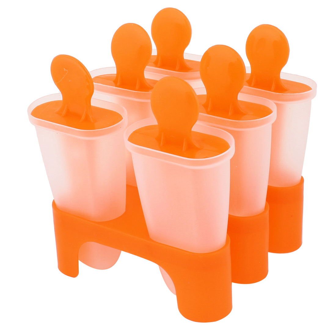 Home Kitchen Orange Clear Plastic DIY Popsicle Making Ice Cream Molds Mould