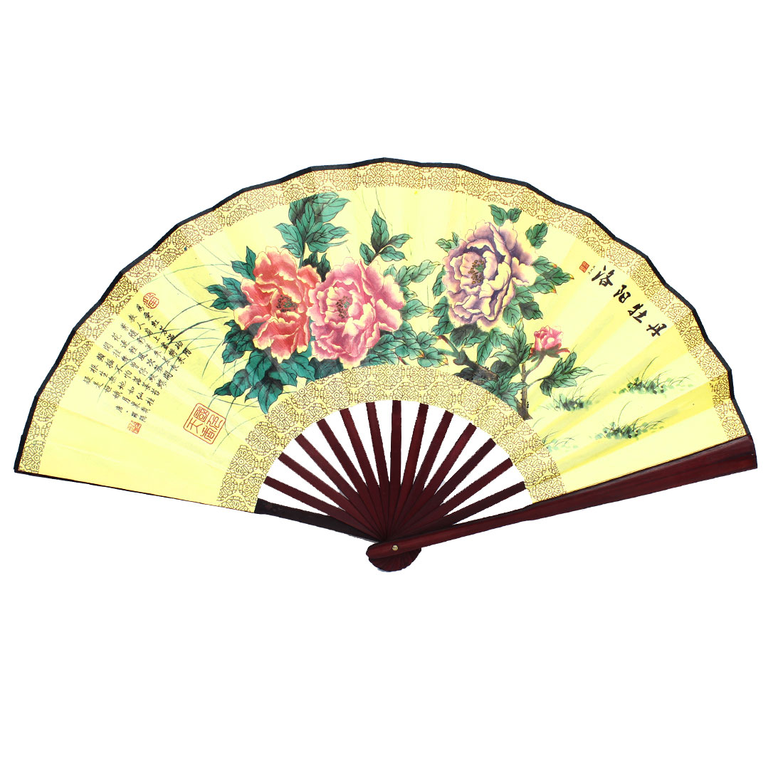 Vintage Style Chinese Painting Poem Pattern Print Fabric Bamboo Folding Hand Fan