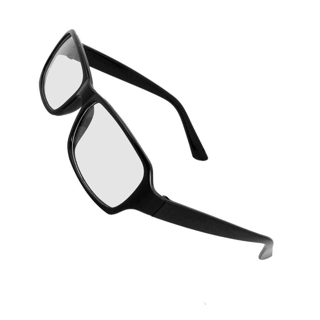 Unisex Black Plastic Full Rim Rectangular Lens Plain Glasses Spectacles