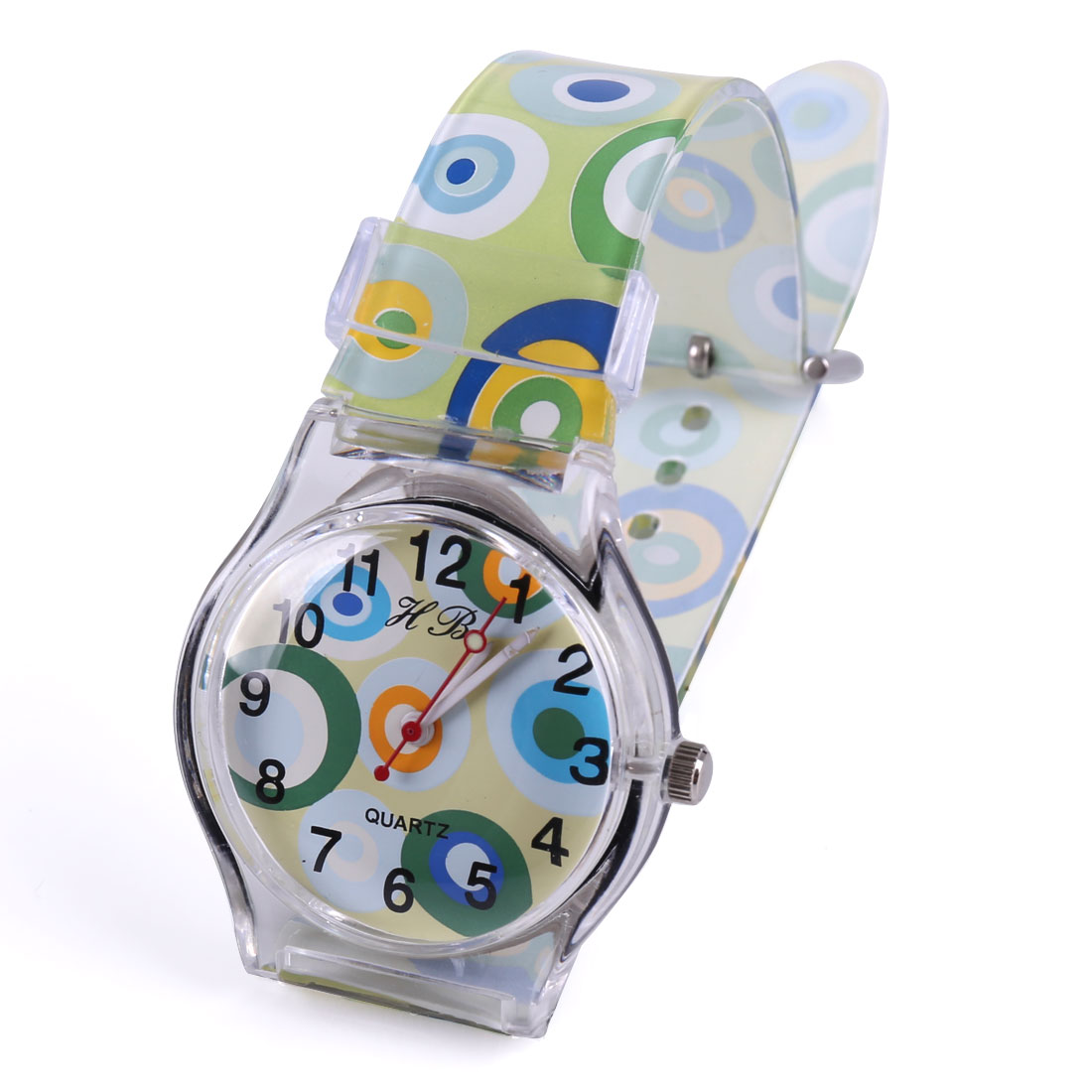 Children Cute Color Circle Pattern Round Dial Adjustable Strap Light Green Watch