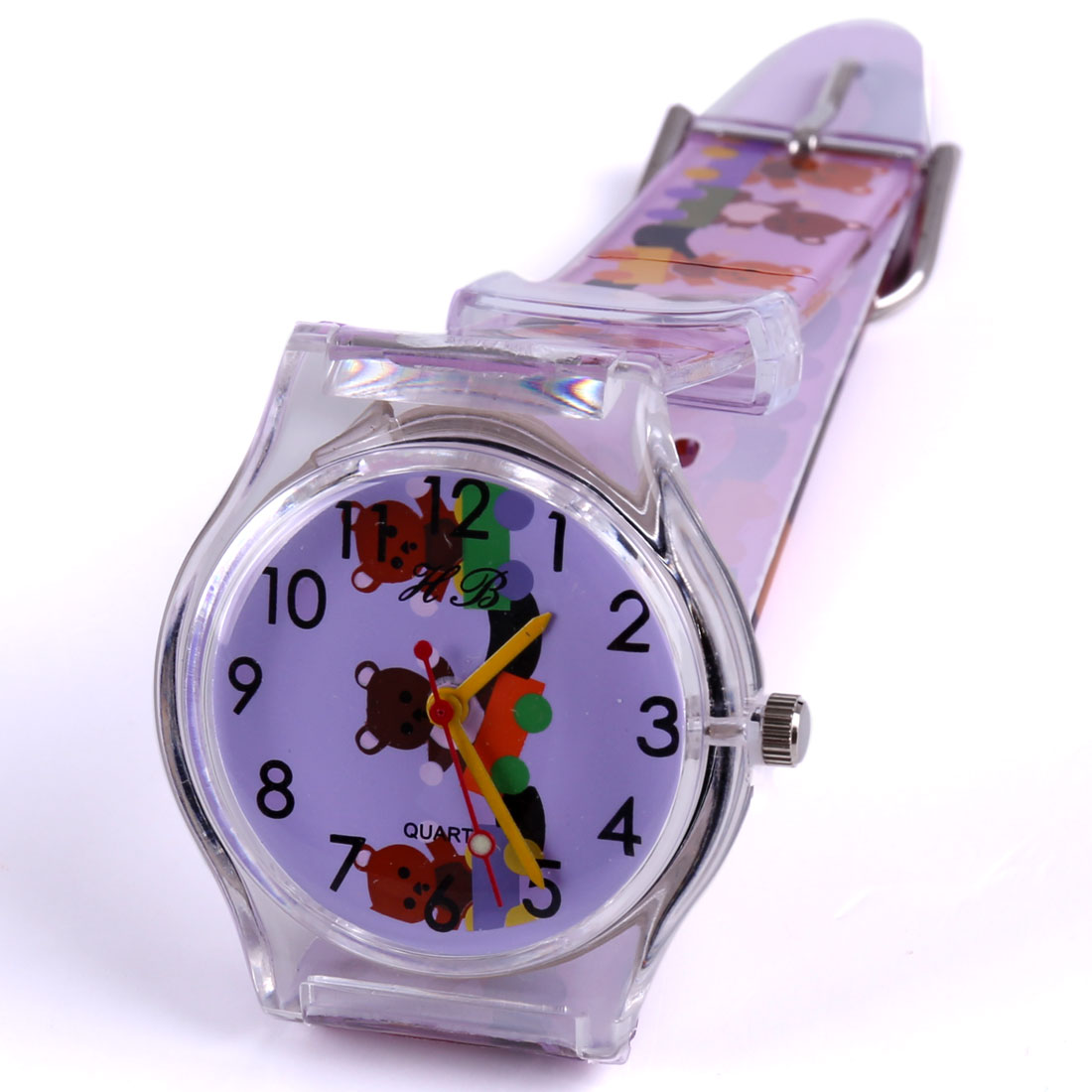 Boys Girls Cartoon Soft Strap Buckle Wrist Watch Purple