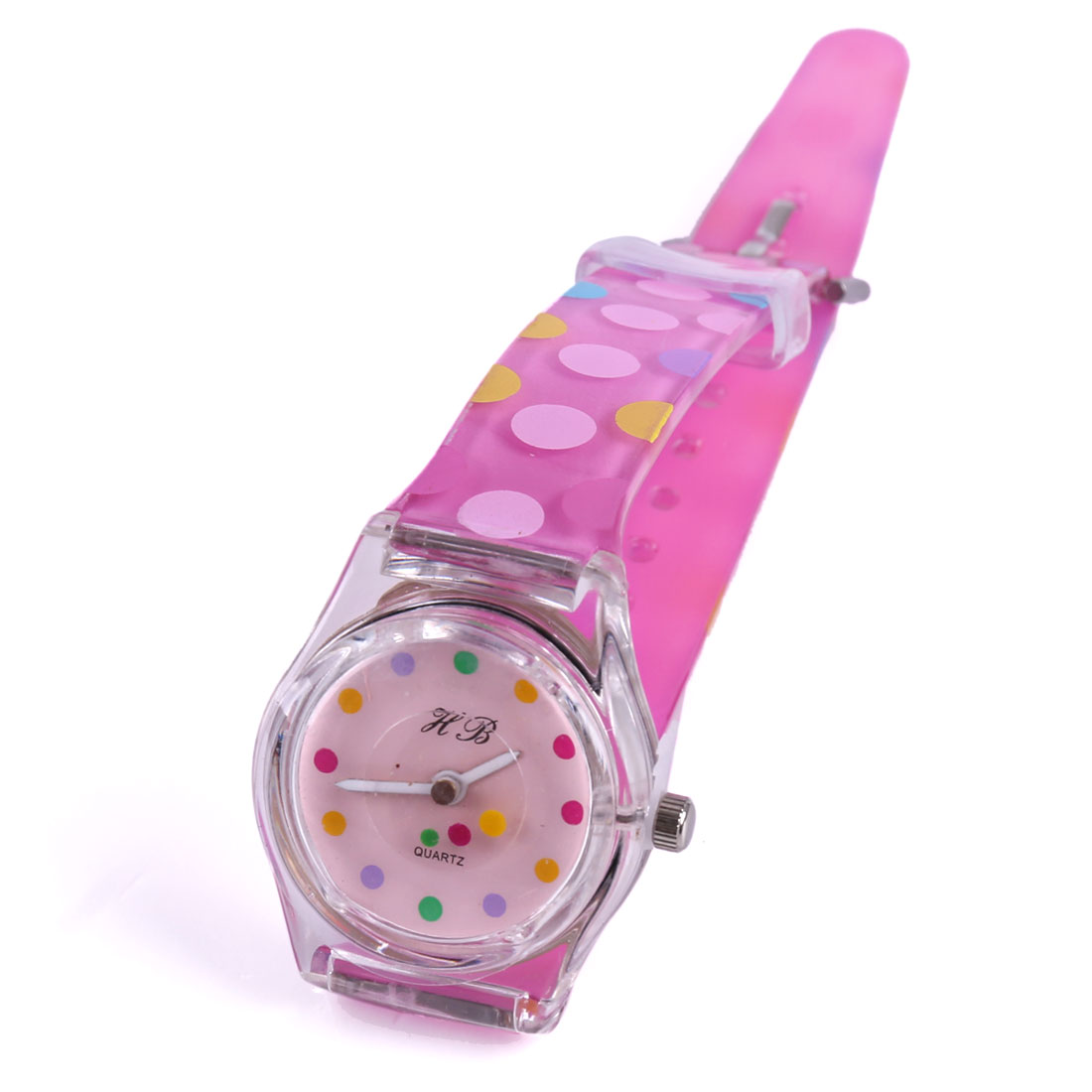 Children Buckle Dots Adjustable Soft Strap Wrist Watch Pink