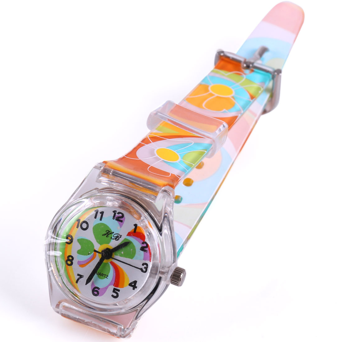 Buckle Flower Adjustable Strap Wrist Watch for Kids Multicolor