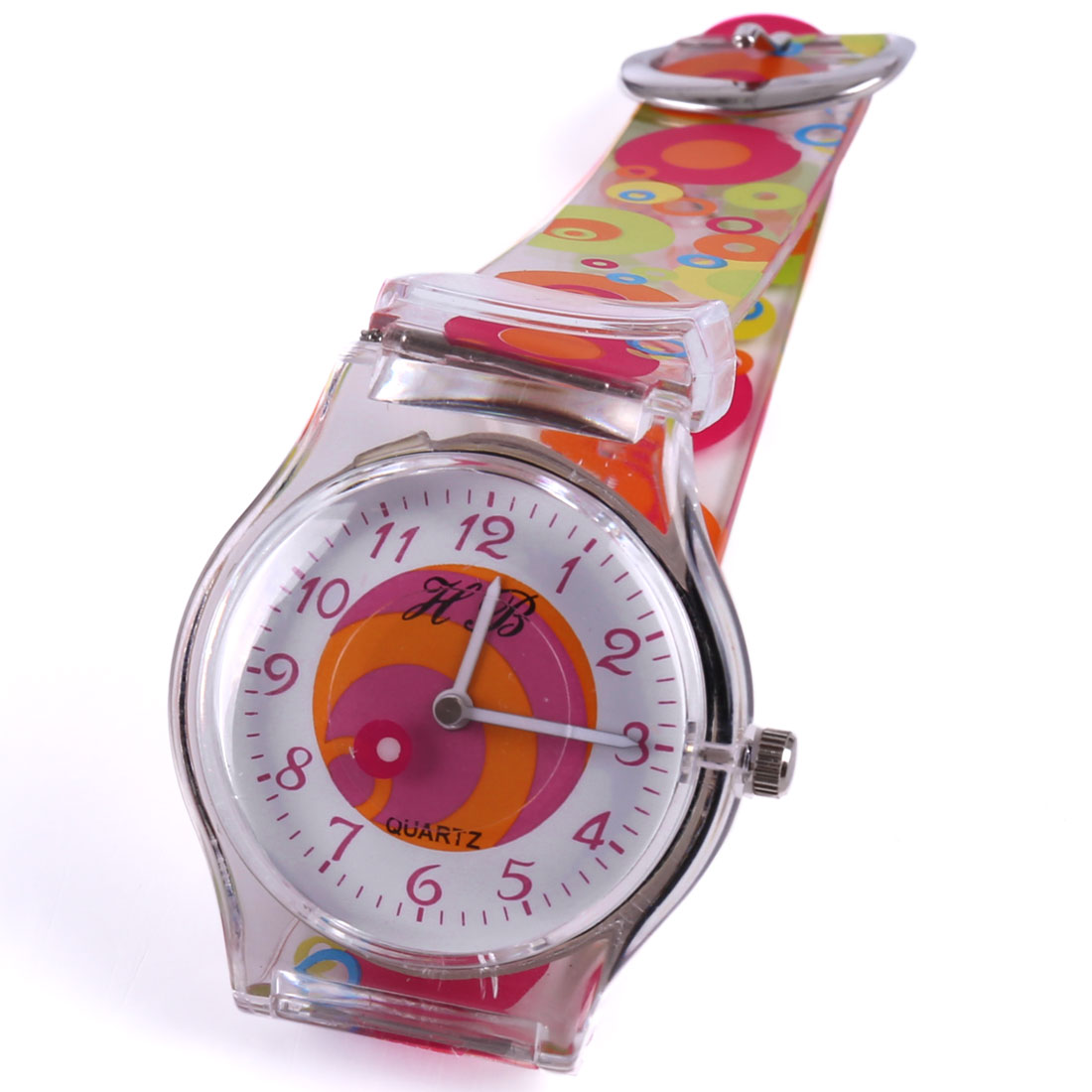 Kids Metal Buckle Adjustable Circle Strap Wrist Watch Multicolor