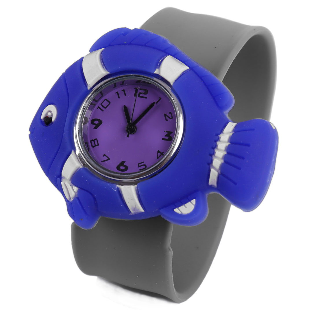 Cute Blue 3D Cartoon Fish Dial Design Light Gray Band Watch for Kids
