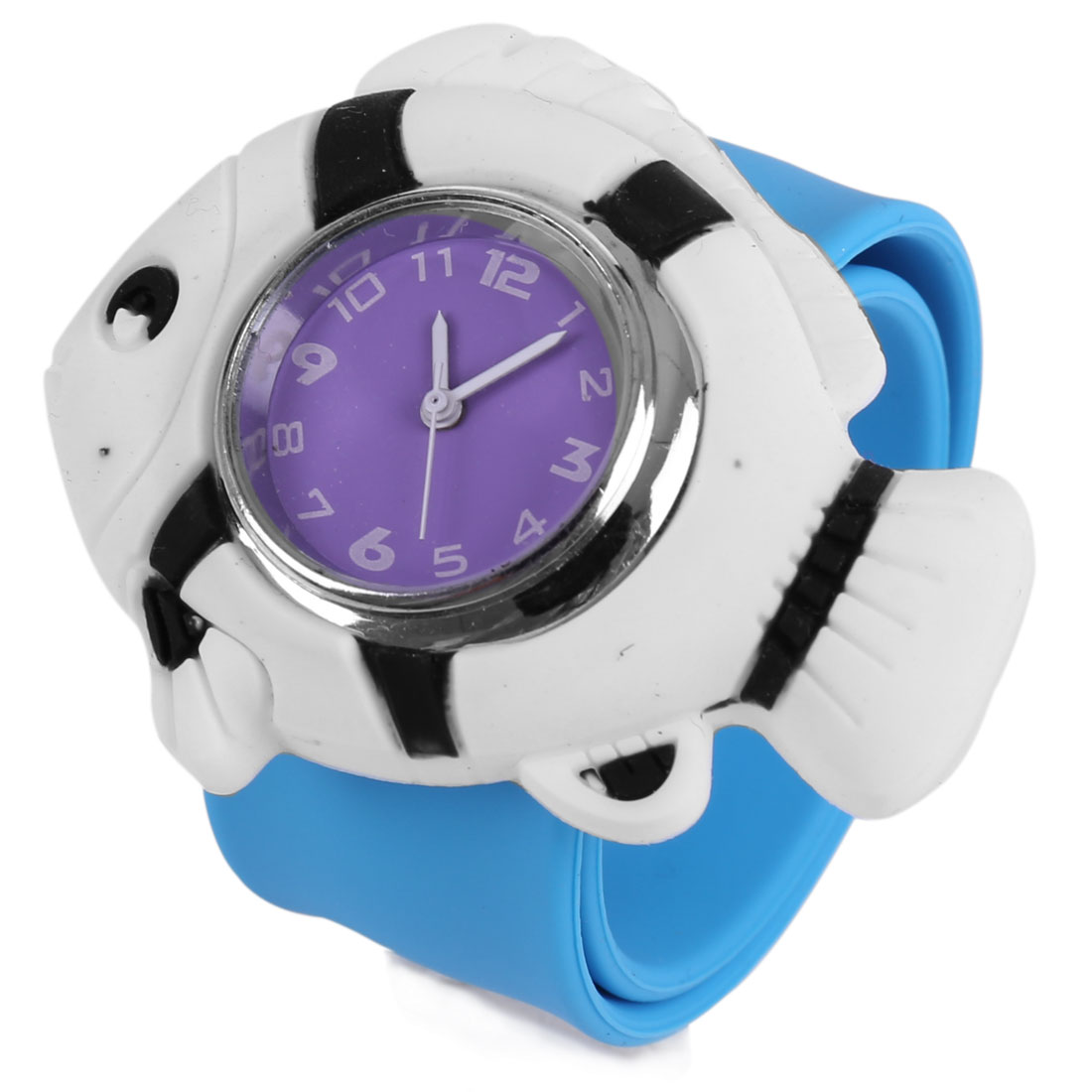 Children Cute White 3D Cartoon Fish Dial Sky Blue Slap Cuff Watch