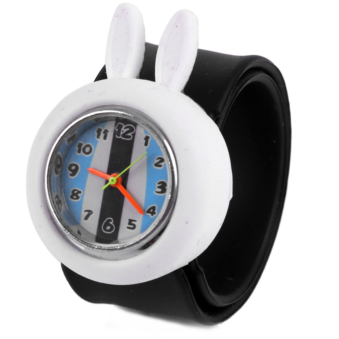 Boys Girls Lovely 3D Cartoon White Rabbit Dial Black Band Design Watch