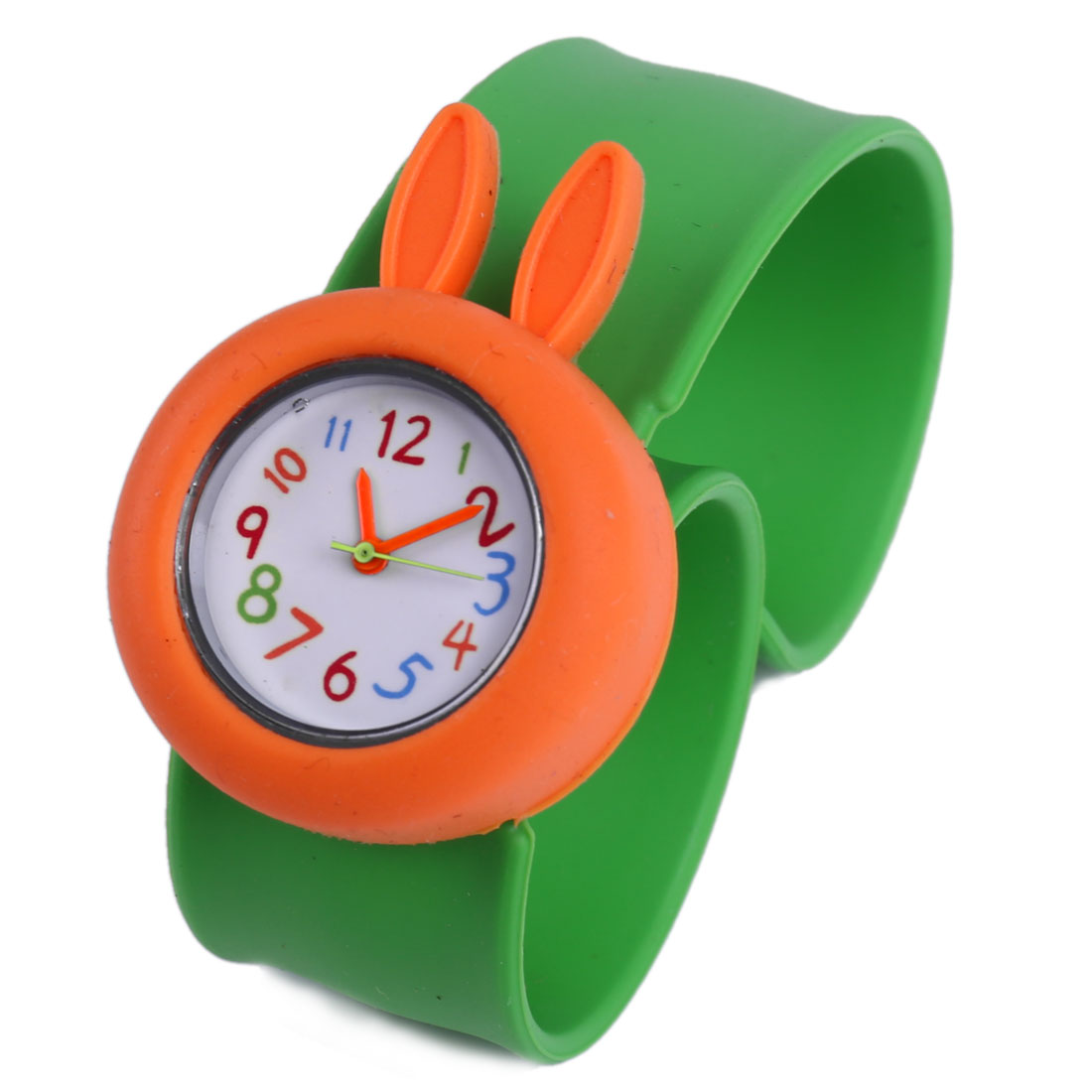 Children Lovely Orange 3D Cartoon Rabbit Dial Green Bangle Band Design Watch