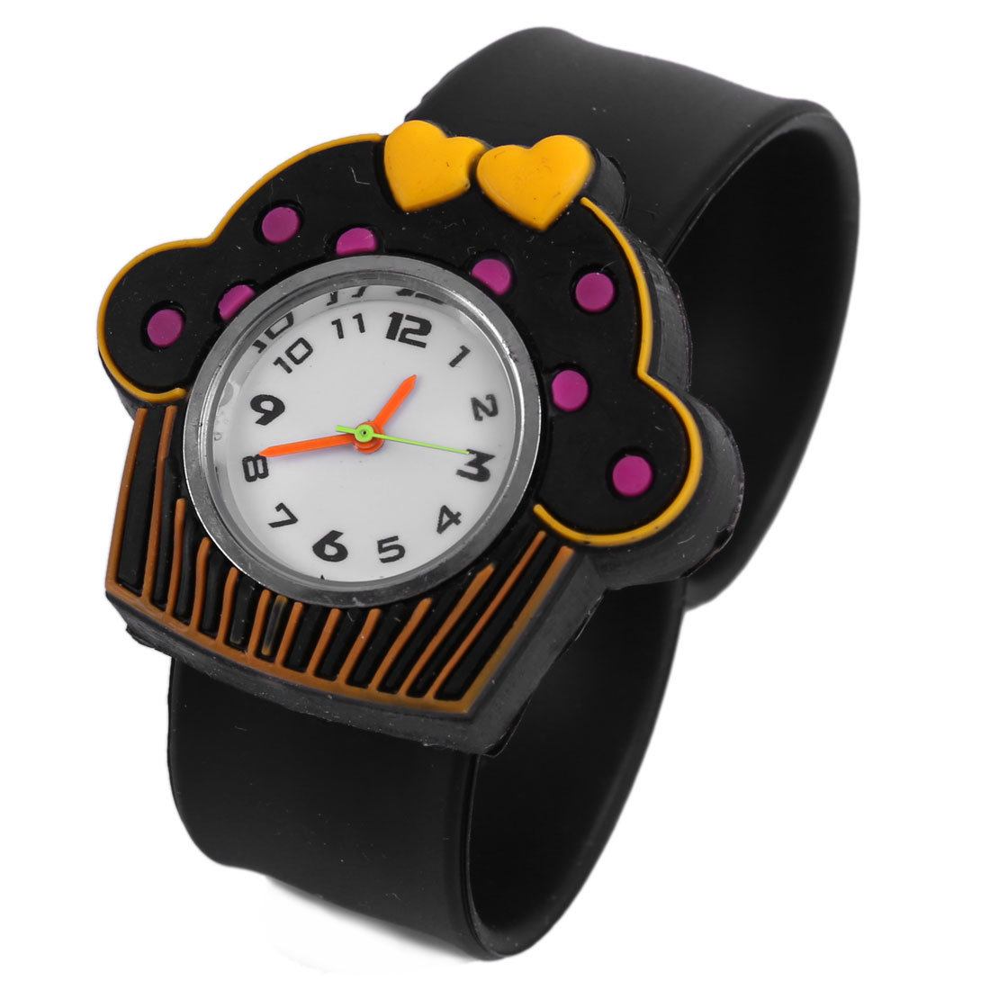 Boys Girls Lovely Black 3D Cartoon House Dial Bangle Band Wrist Watch
