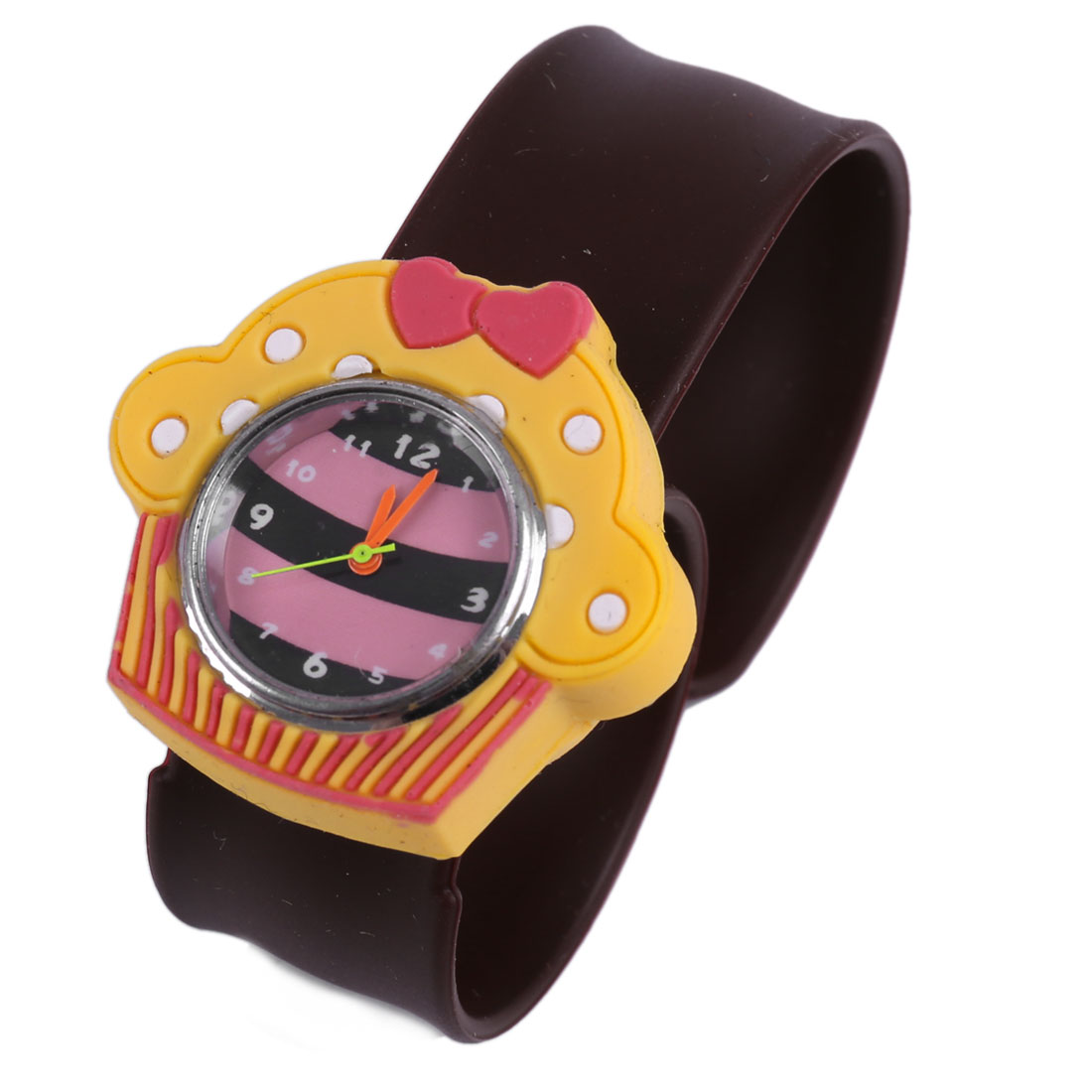 Kids Lovely Yellow 3D Cartoon House Dial Brown Bangle Band Design Watch