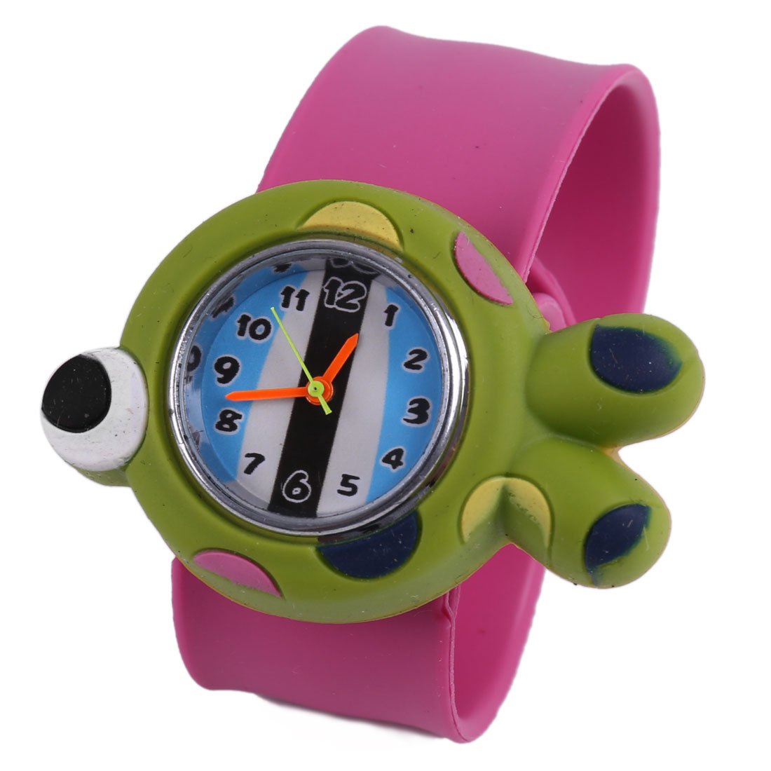 Lovely Kids Green Cartoon Fish Dial Fuchsia Slap Cuff Watch