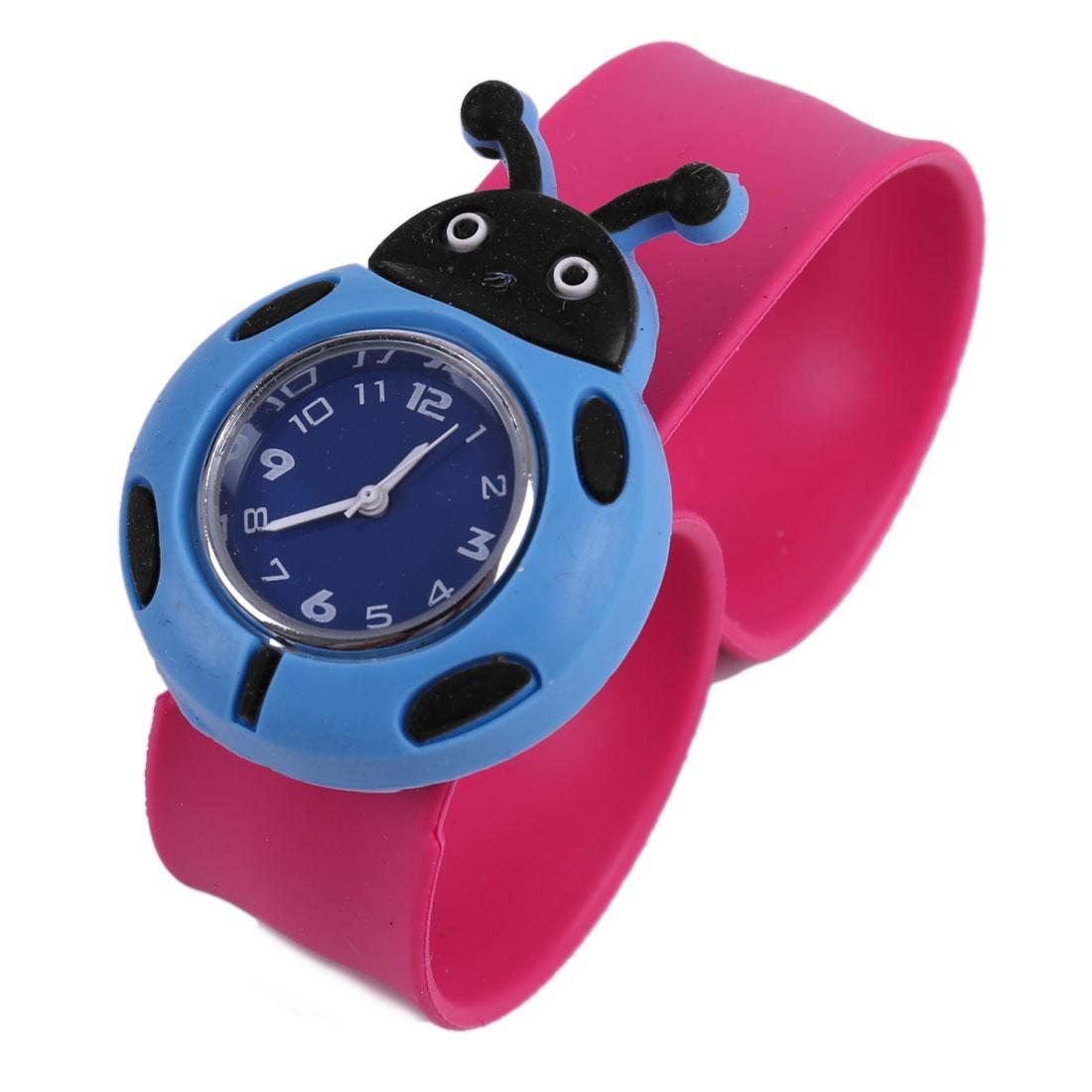 Boys Girls Chic Light Blue Cartoon Beetle Dial Fuchsia Bangle Band Watch
