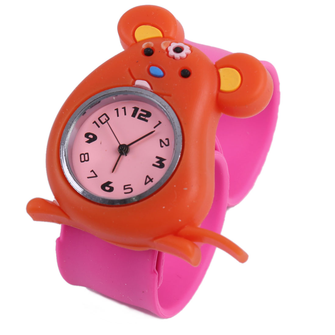 Chic Orange Cartoon Mouse Dial Hot Pink Bangel Band Watch for Kids