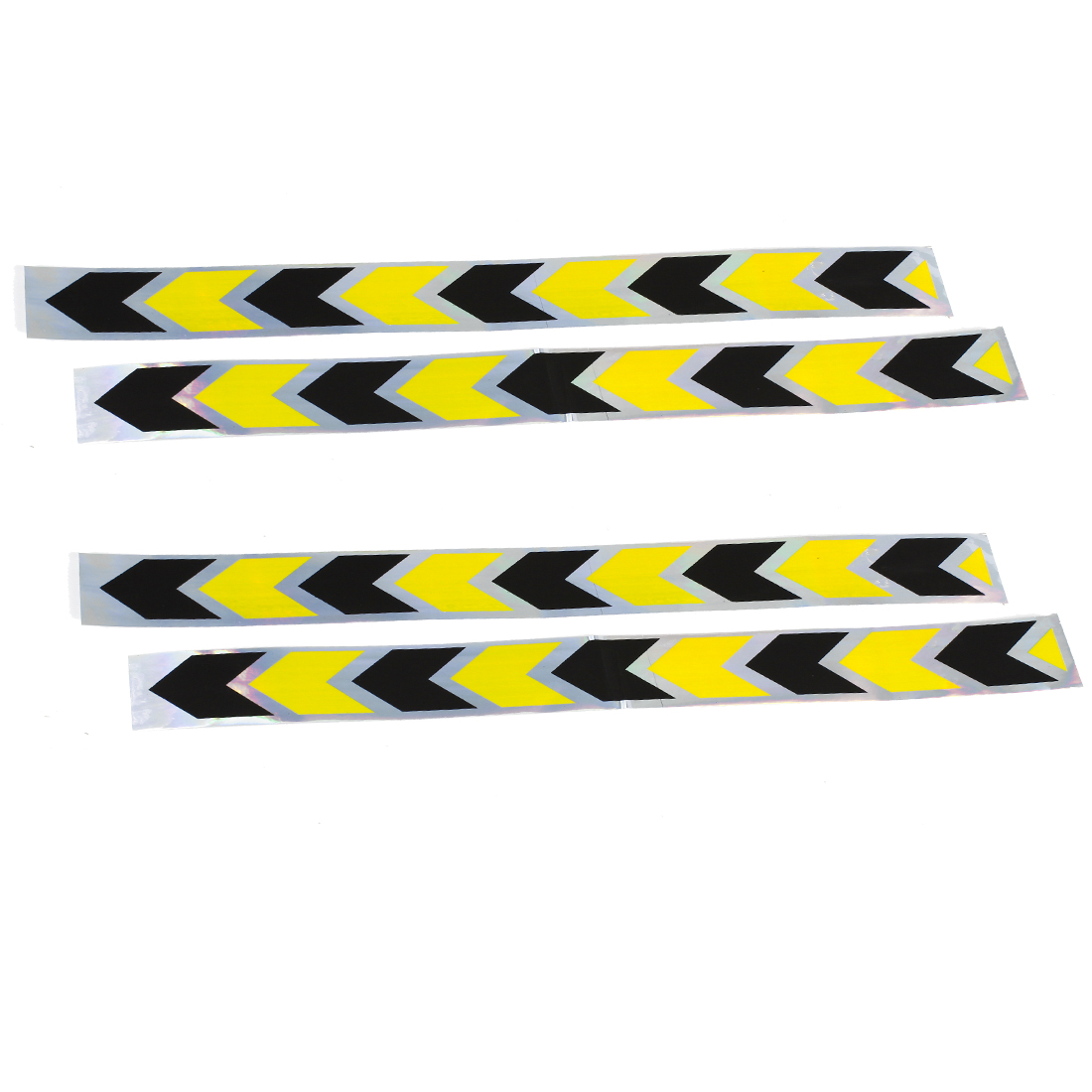 Car Automobile Arrows Pattern Safety Reflective Stickers Yellow Black 4PCS