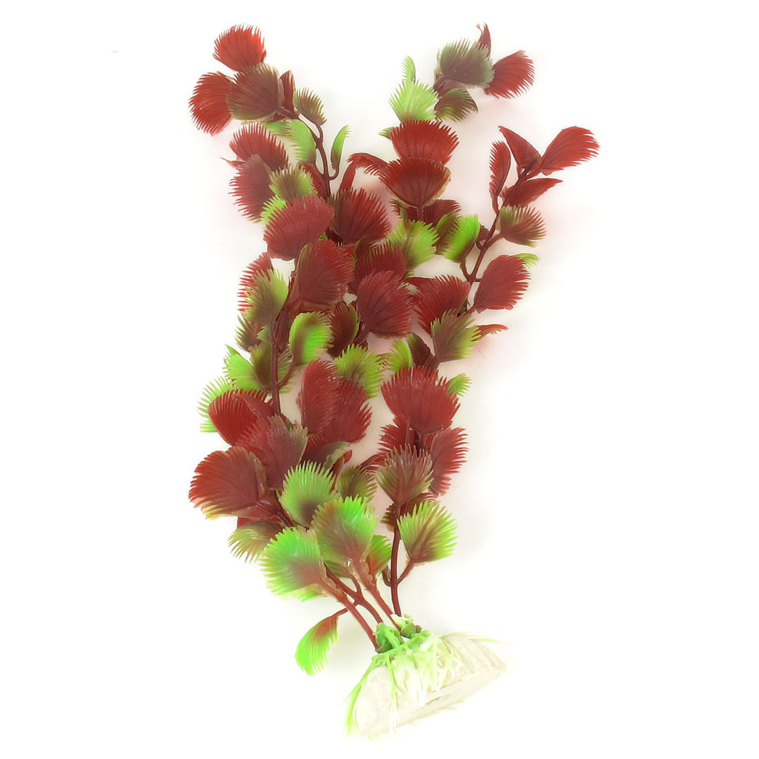 "Fish Tank Aquarium Decorative Emulational Plastic Plant Red Green 12.6"" Height"