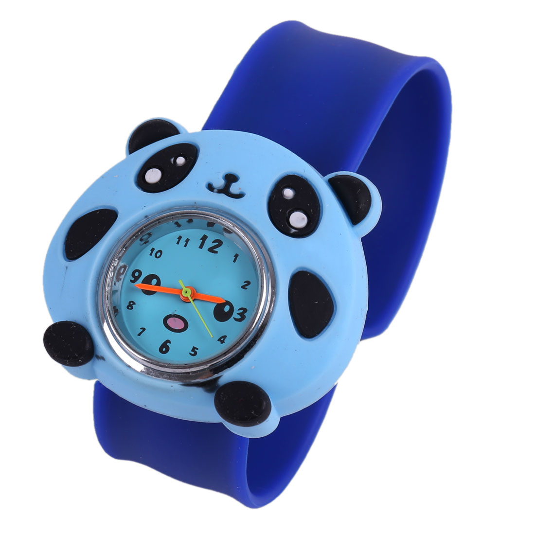 3D Cartoon Panda Design Wrist Watch for Children Royal Blue Sky Blue