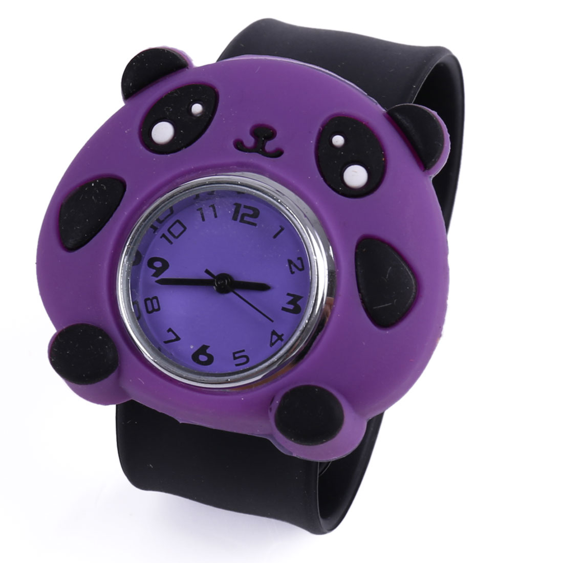 Cute Animated Panda Boys Girls Wrist Watch Black Purple