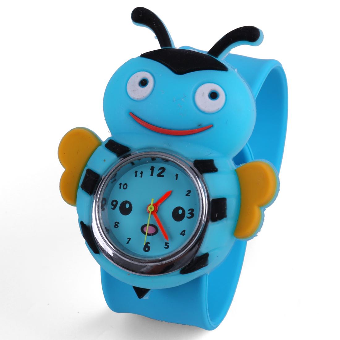 Children Bee Style Analog Cartoon Cute Wrist Watch Light Blue