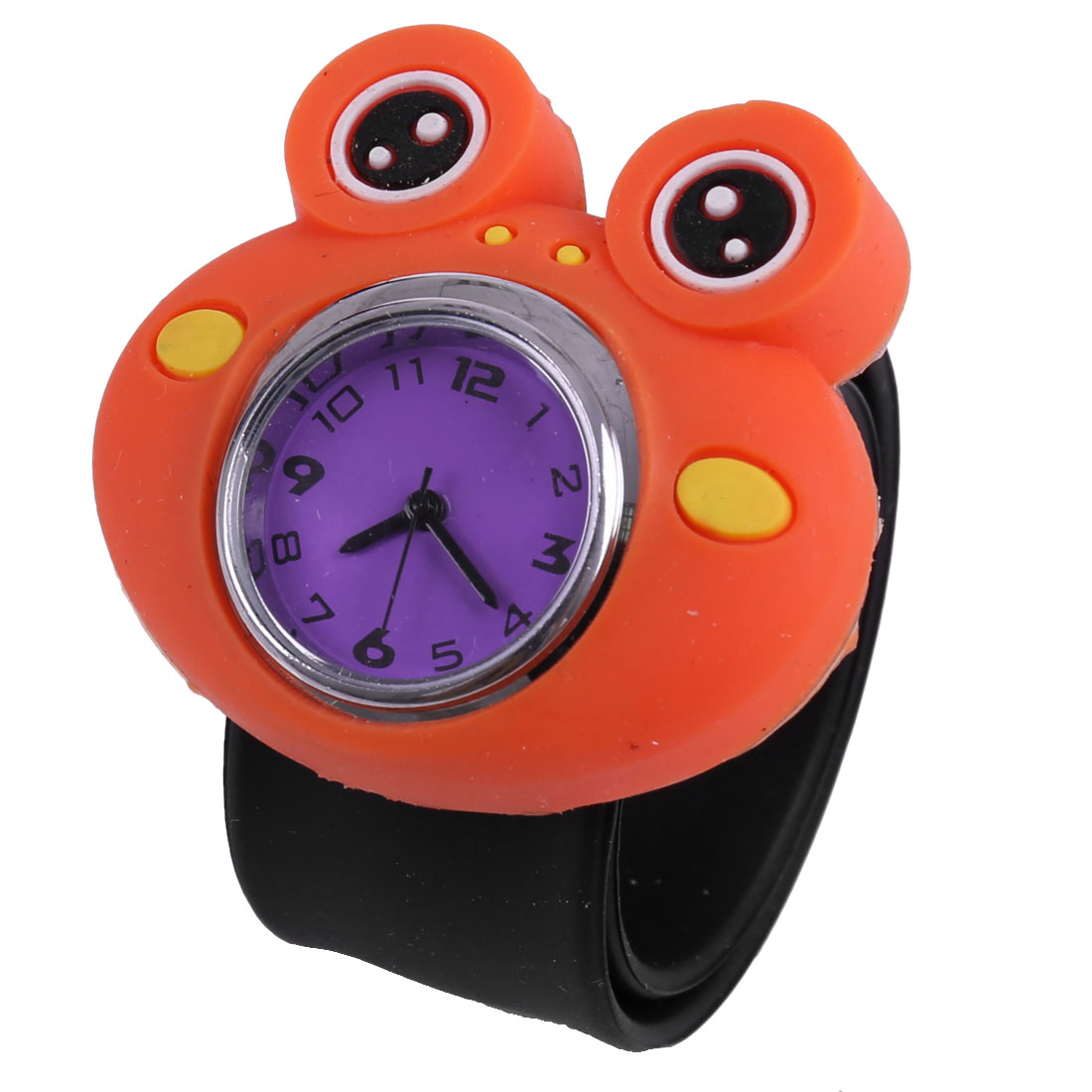 Boys Girls Frog Design Adjustable Strap Wrist Watch Black Purple