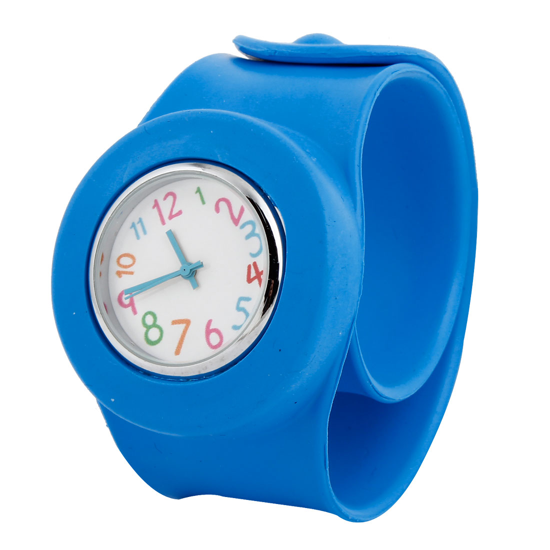 Boys Girls Pretty Sky Blue Round Dial Fluorescent Minute Hand Design Watch