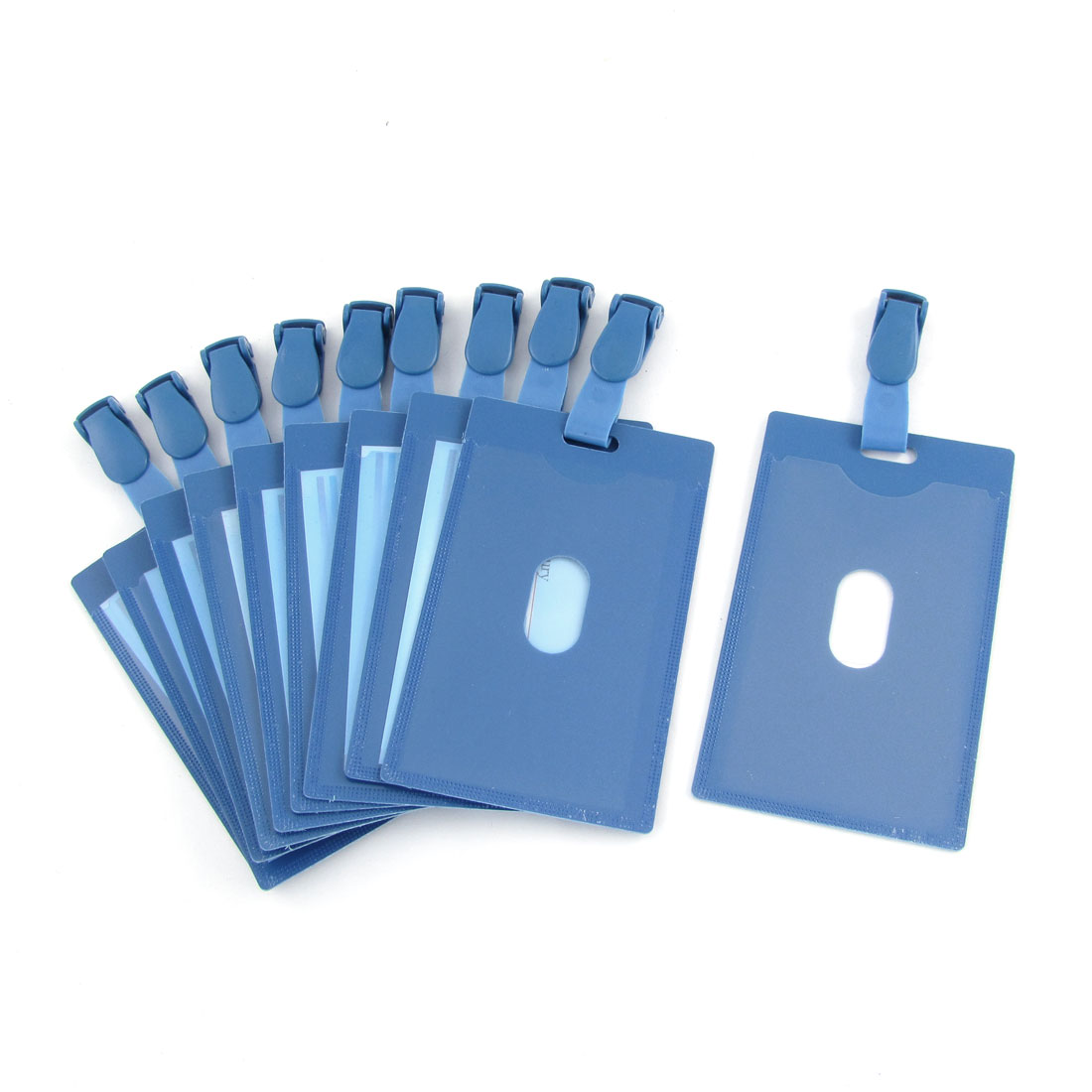 10PCS Blue Clear PVC Vertical ID Name Badge Card Holders w Clips