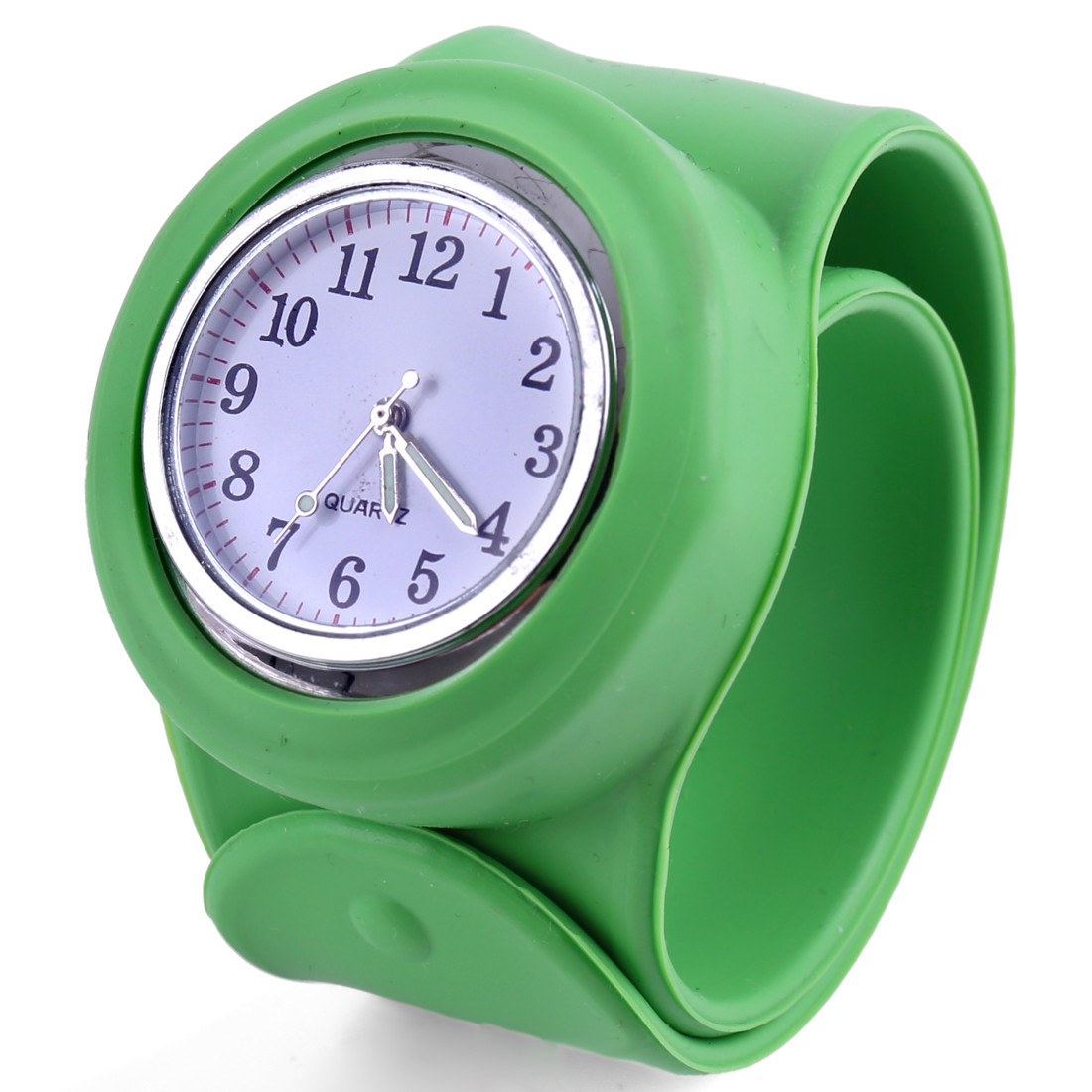 New Fashion Kids Green Round Dial Wide Bangle Band Design Wrist Watch