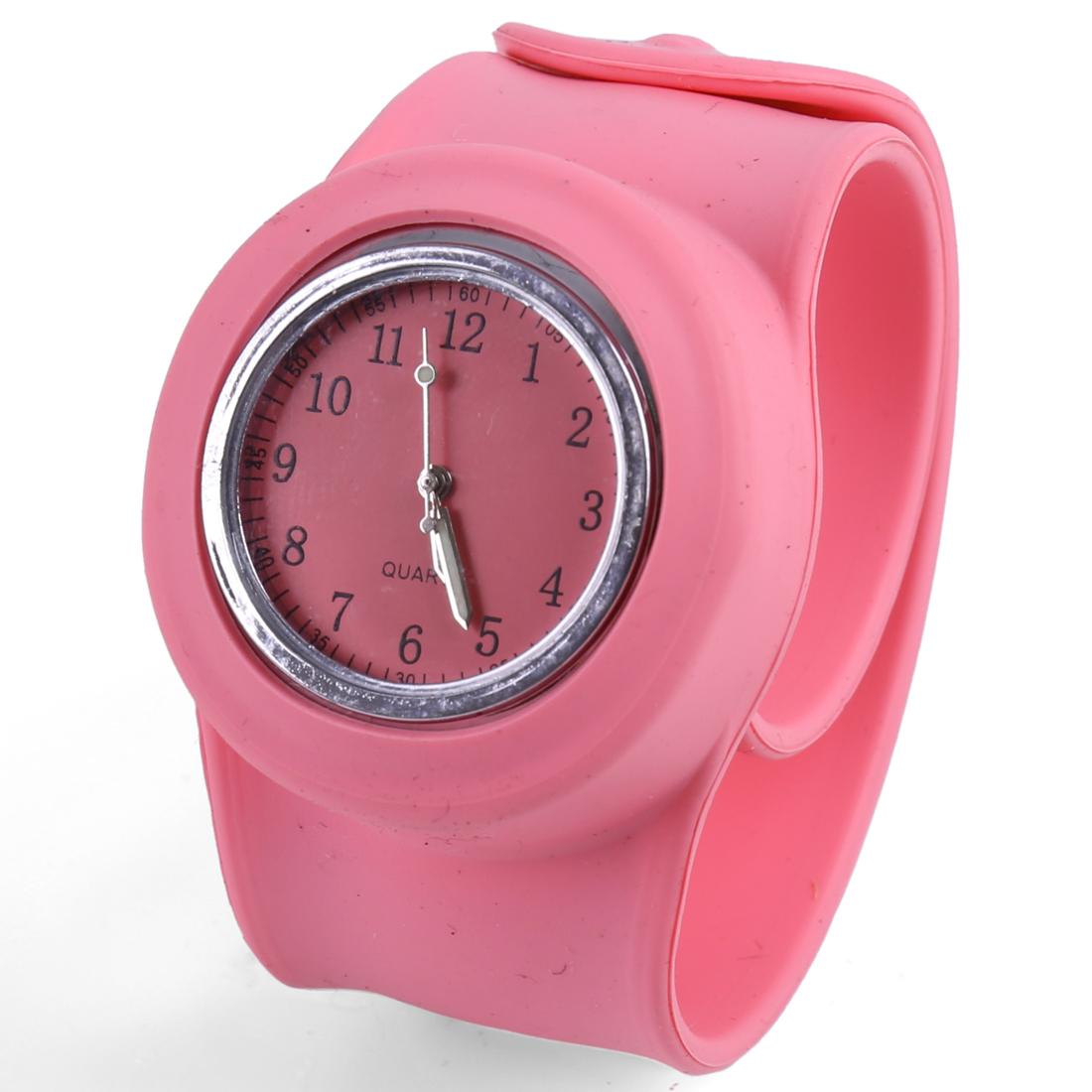 Lovely Pink Round Dial Slap Band Design Slap Watch for Children
