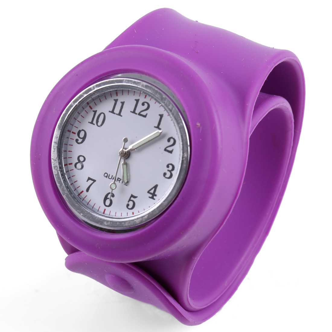 Pretty Purple Round Dial Wide Bangle Band Design Wrist Watch for Kids