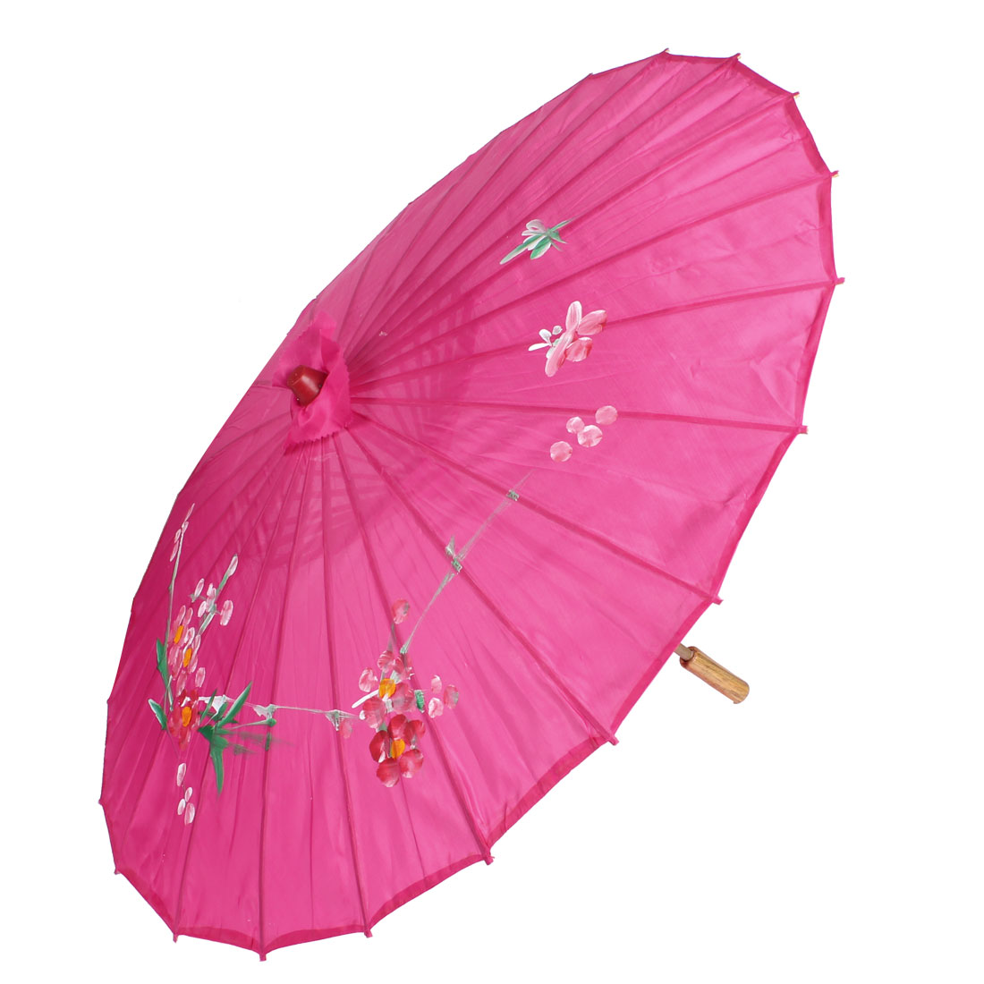 Portable Flower Leaf Print Fuchsia Cover Bamboo Folding Dancing Umbrella Parasol
