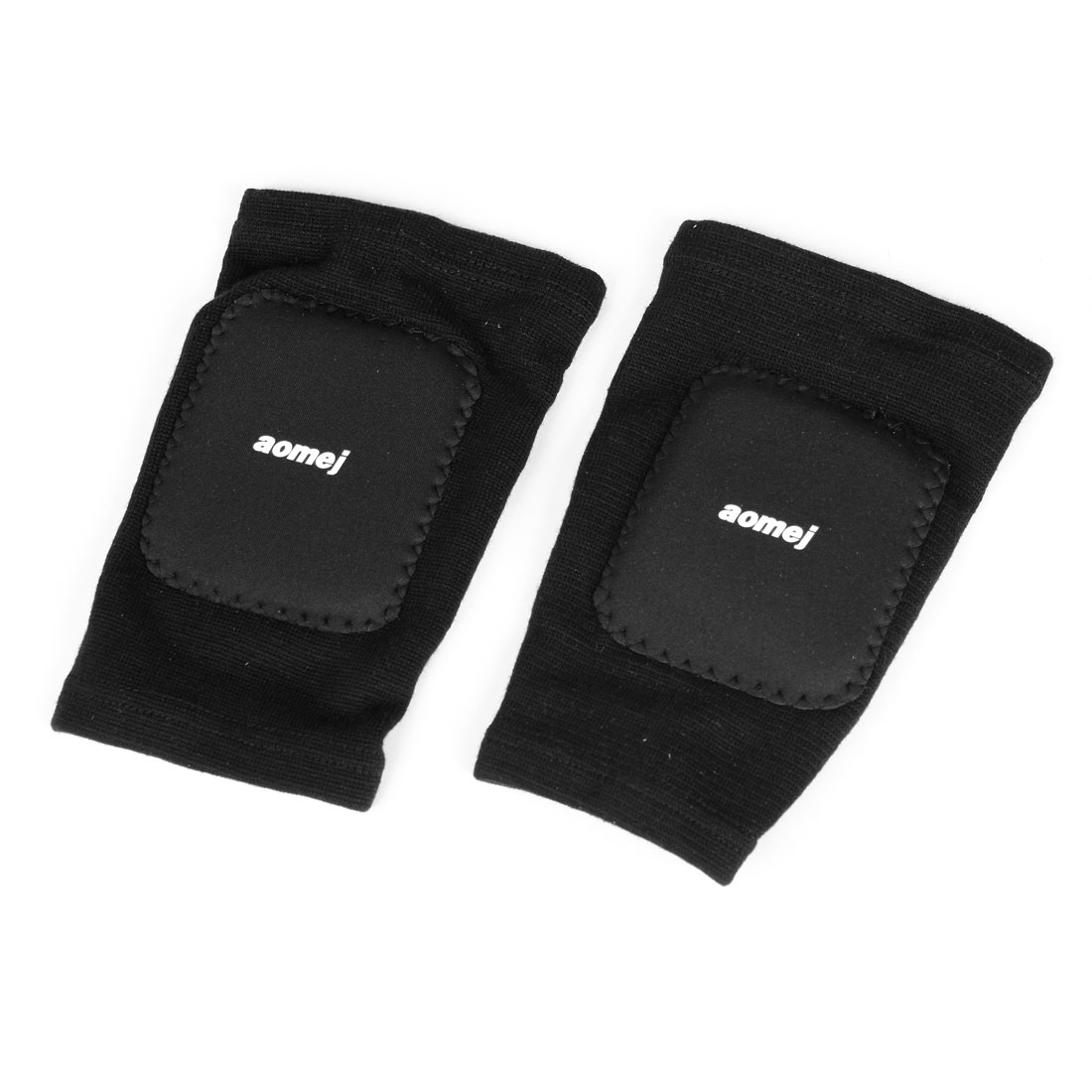 2 x Kids Outdoor Sprots Elastic Protective Padded Knee Support Protector Black