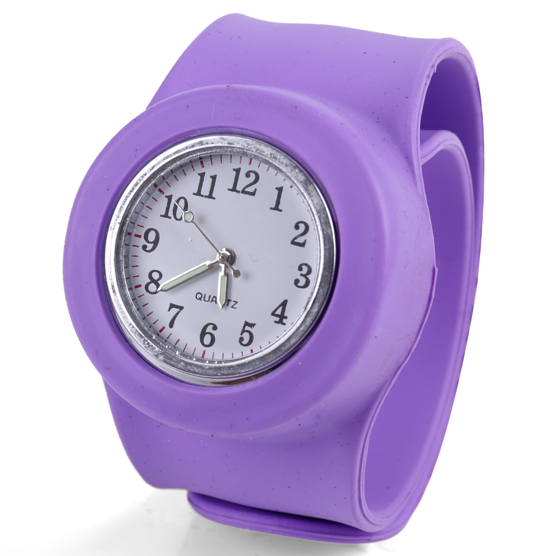 Boys Girls Pretty Light Purple Round Dial Design Wide Bangle Band Watch