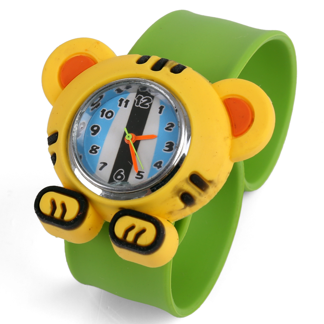 Adjustable Strap Tiger Wrist Watch for Boys Girls Light Green Yellow
