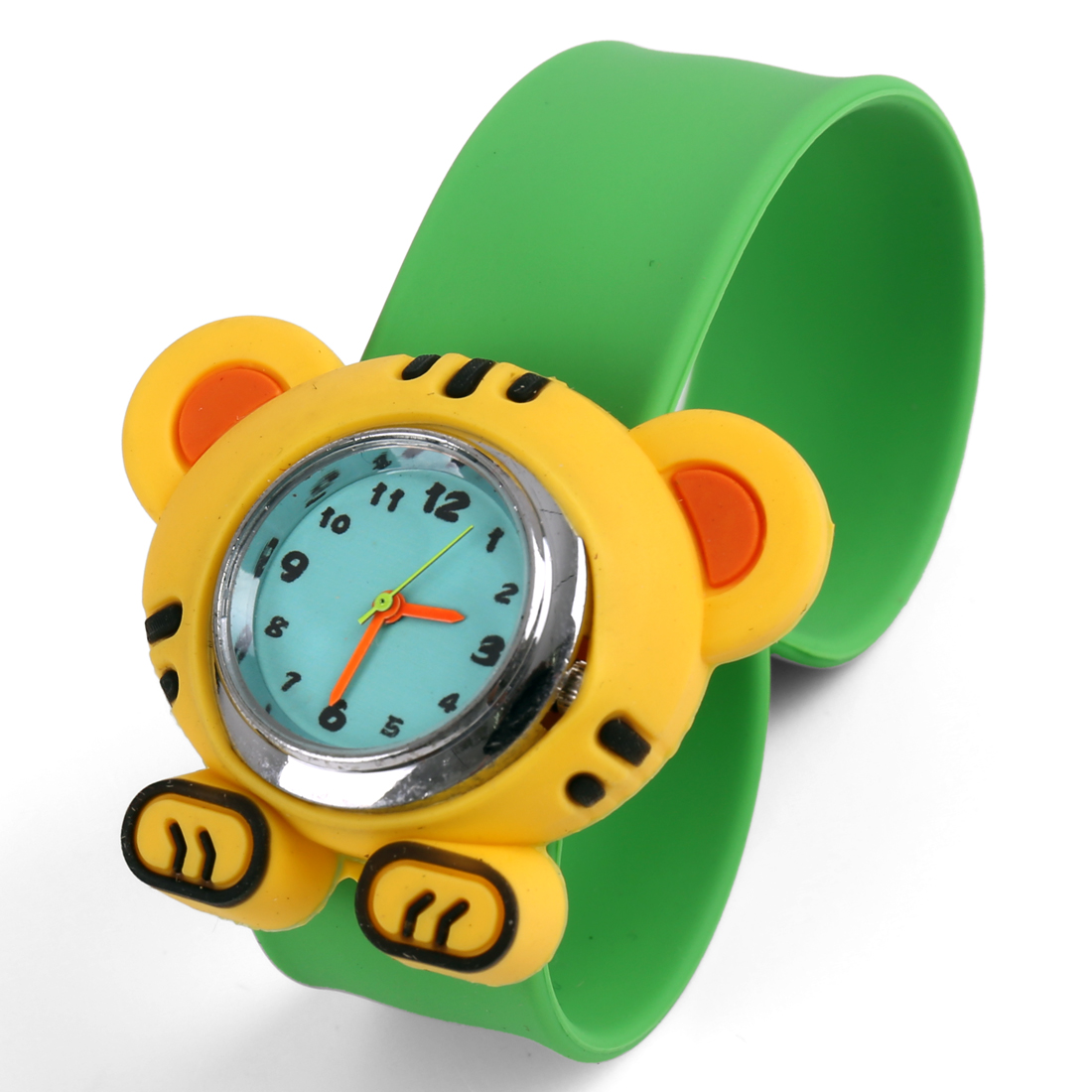 Tiger Style Boys Girls Slap Strap Wrist Watch Green Yellow