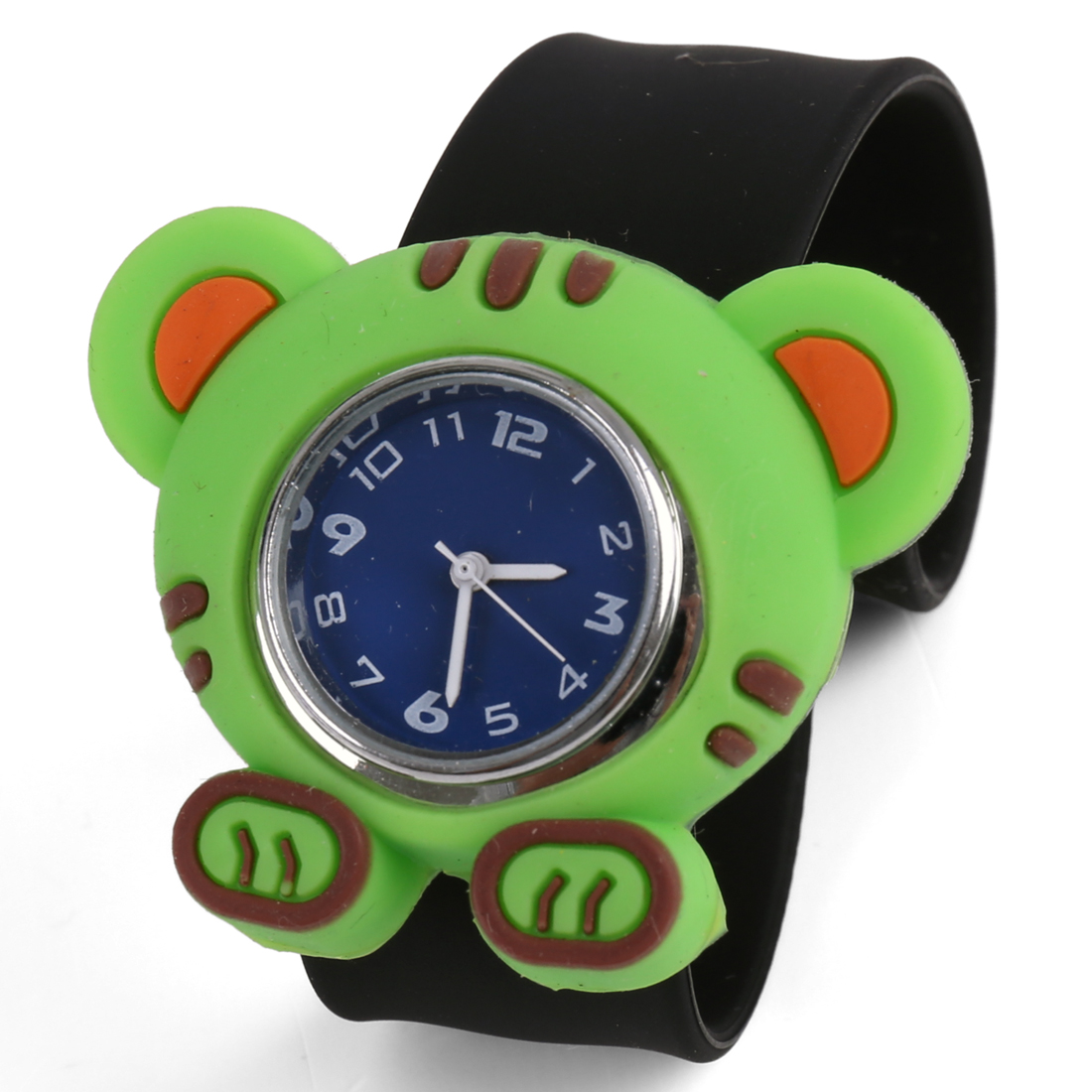 Children Stylish Slap Cuff Animated Tiger Wrist Watch Black Green