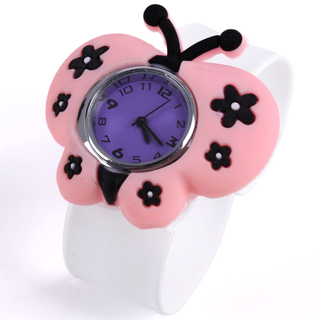 Fashion NEWS Butterfly Pattern Kids Wrist Watch White Light Pink