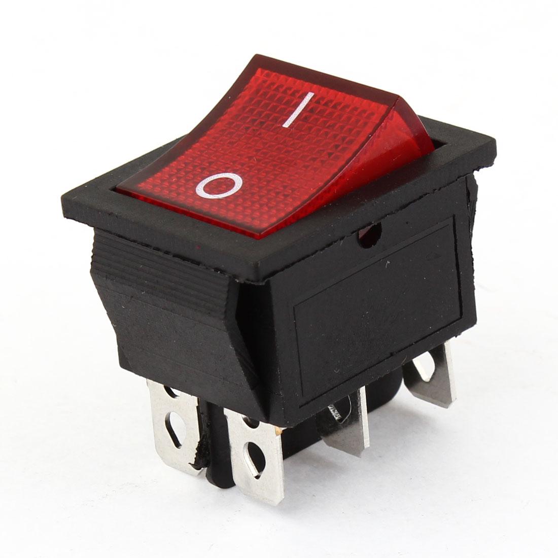 AC 16A/250V 20A/125V Red Lamp 6 Pin DPDT ON-OFF Snap In Boat Rocker Switch