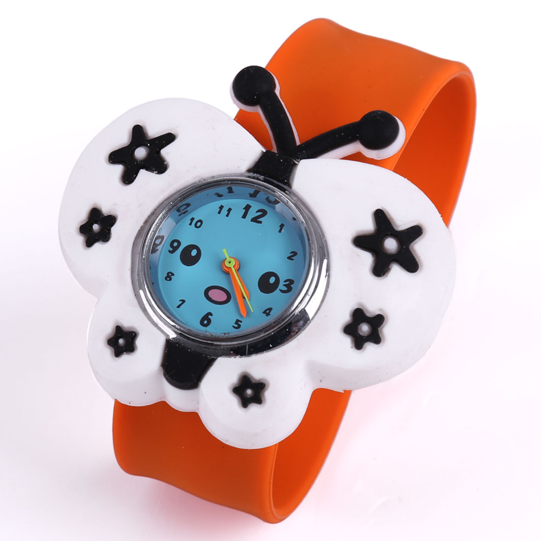 Fashion Cute Slap Cuff Butterfly Dial Wrist Watch Orange White
