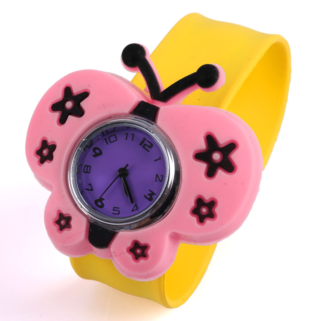 Kids Butterfly Patttern Analog Lovely Wrist Watch Yellow Pink