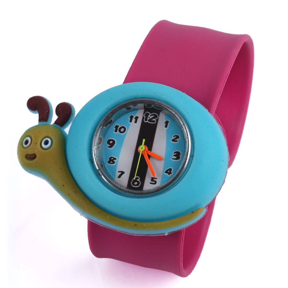 Cartoon Snail Style Children Adjustable Strap Wrist Watch Fuchsia Blue