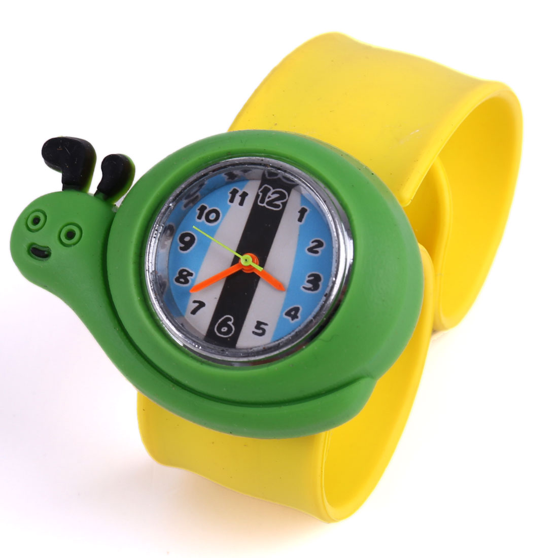 Children Snail Style Analog Cute Casual Wrist Watch Yellow Green