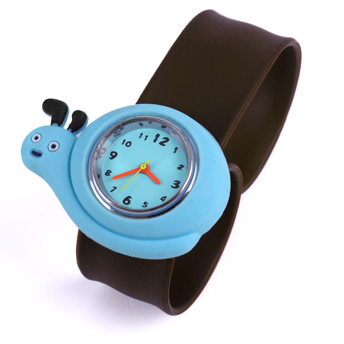 2013 NEWS Cartoon Snail Design Wrist Watch for Children Brown Blue