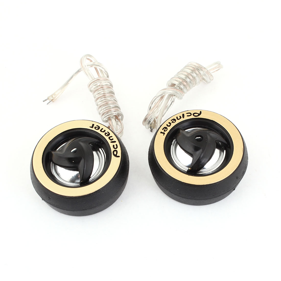 2 Pcs 45mm Dia Black Plastic Audio Dome Tweeter 150W for Car