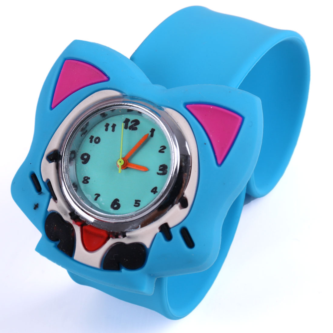 Children 3D Animated Fox Dial Slap Strap Wrist Watch Blue