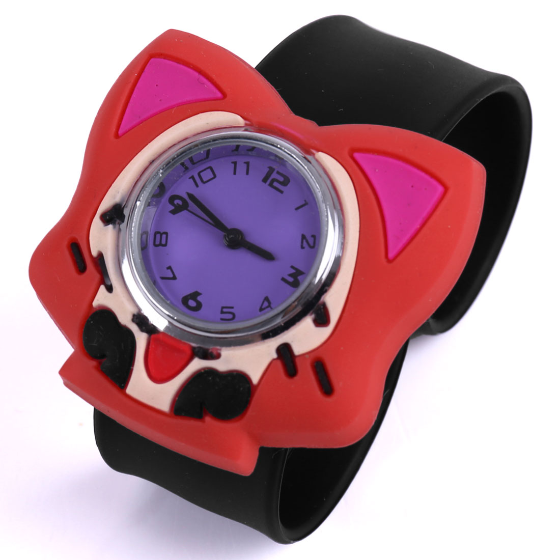 Boys Girls Adjustable Strap Lovely Fox Wrist Watch Red Black