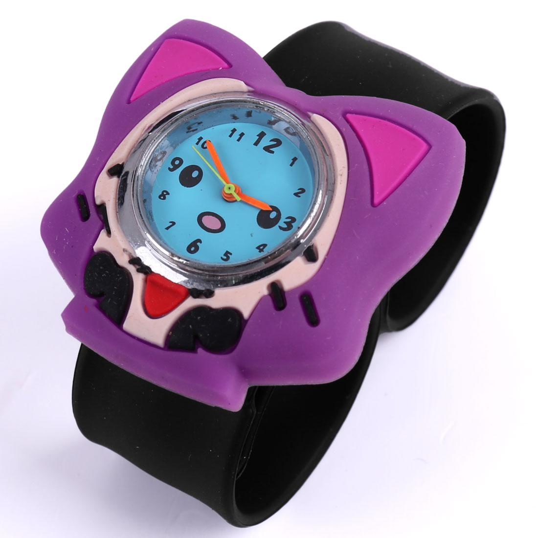 Kids Animated Fox Style Wrist Watch Purple Black