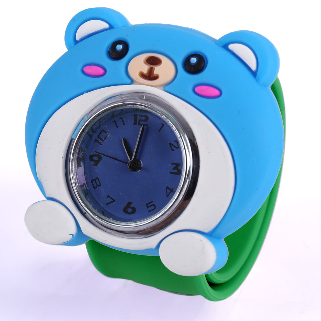 Boys Gilrs Cute 3D Bear Dial Design Green Band Slap Cuff Watch