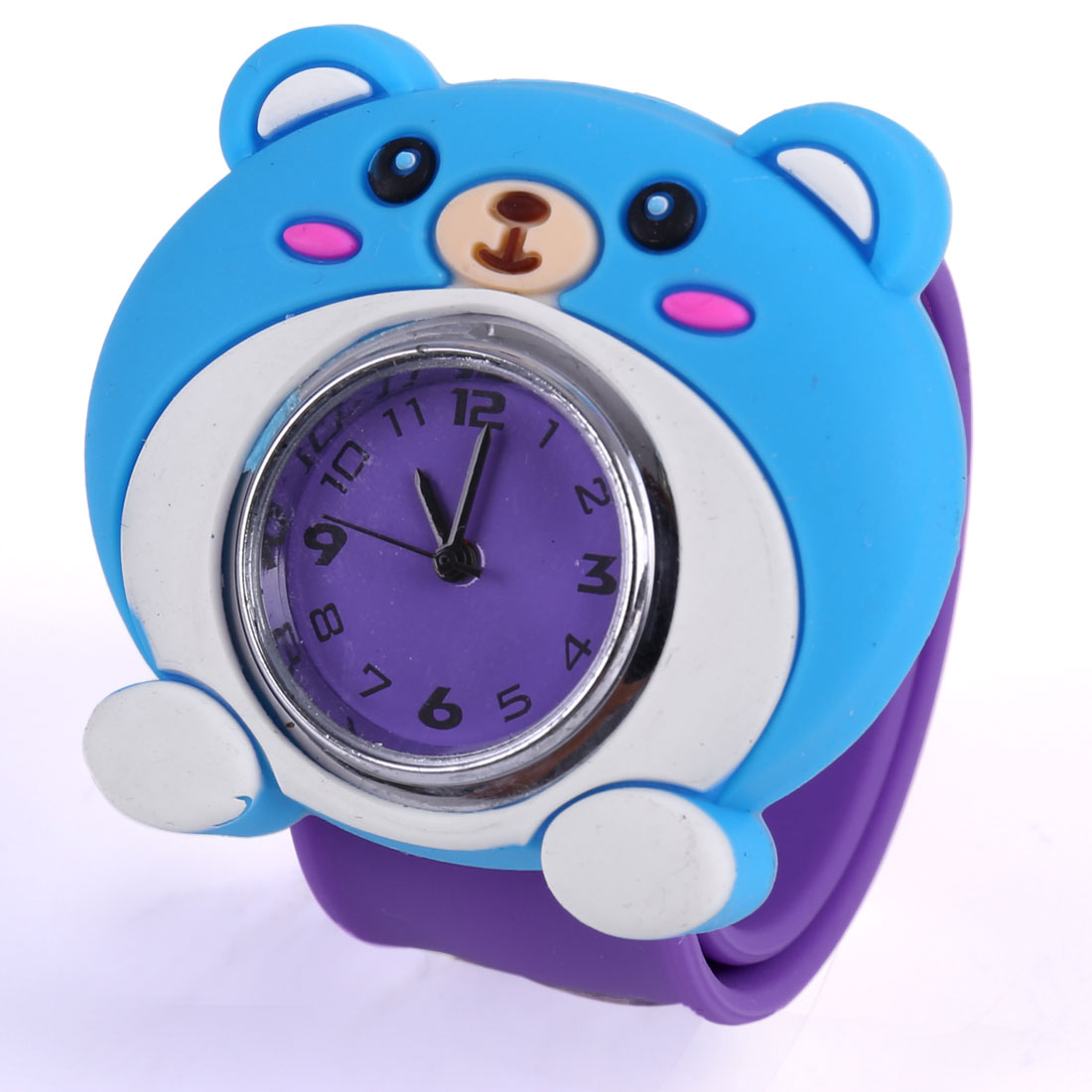Children Chic Blue 3D Cartoon Bear Dial Design Purple Bangle Band Watch