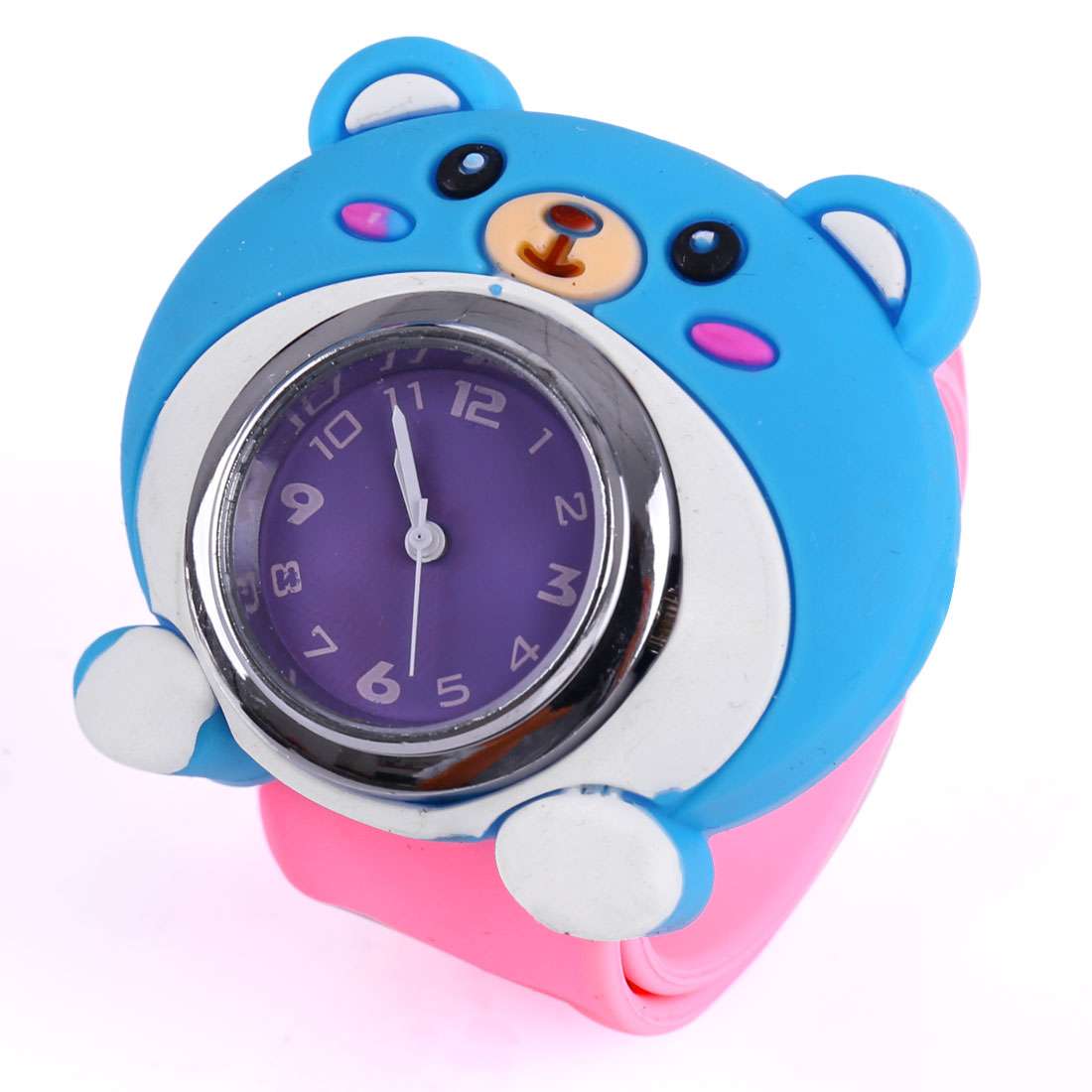 Lovely Blue 3D Bear Dial Pink Bangle Band Design Wrist Watch for Kids