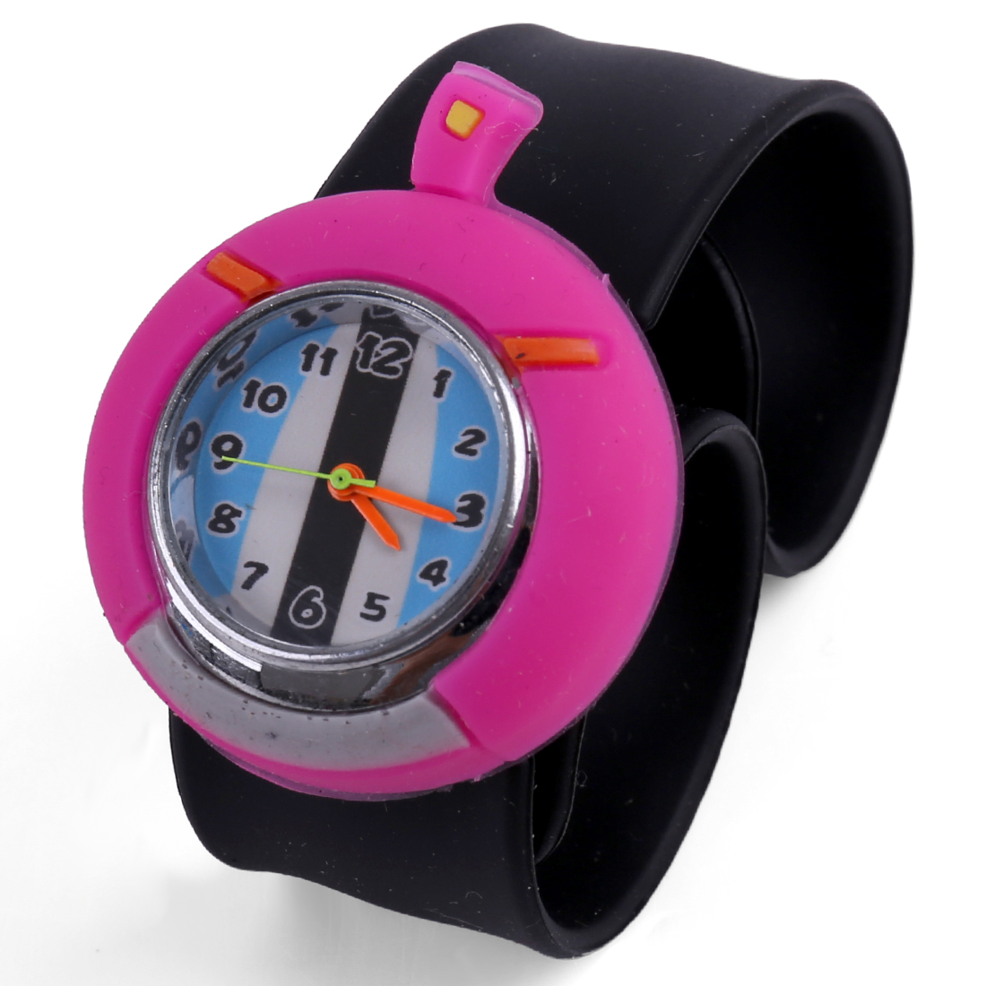 Fashion Kids NEWS Apple Pattern Dial Strap Wrist Watch Black Fuchsia