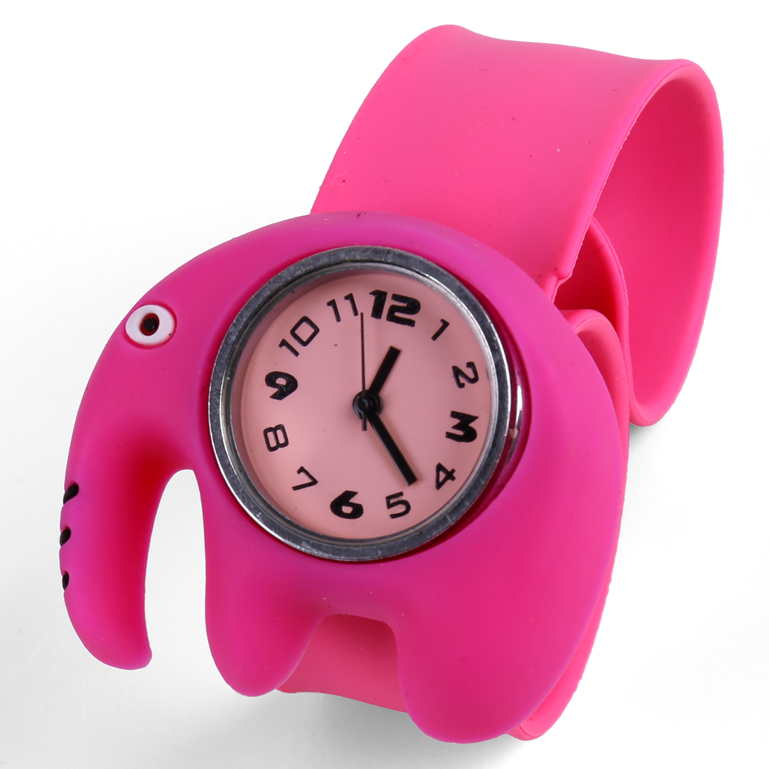 Cute 3D Elephant Pattern Analog Kids Casual Wrist Watch Fuchsia